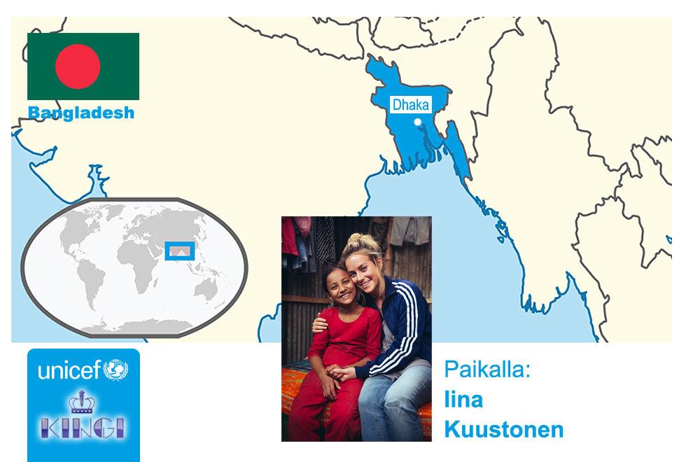 UNICEFin hyvän tahdon lähettiläs Iina Kuustonen vieraili Bangladeshissa tutustumassa UNICEFin työhön.