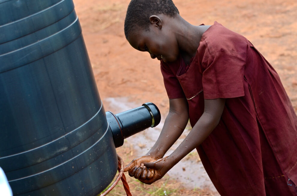 One of the jointly developed solutions is a hand-washing tap which conserves water and reduces time children need to spend on fetching water during school days.