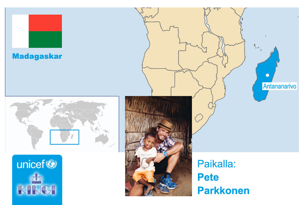 Ohjelmassa nähdään Pete Parkkonen tutustumassa UNICEFin työhön Madagaskarilla.