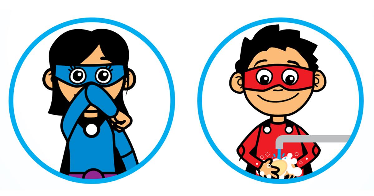 Piirros: kaksi lasta supersankariasusteessa. Toinen aivastaa oikein eli suun suojaten, toinen pesee iloisena käsiään.