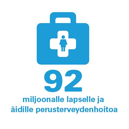 Lääkelaukku-ikoni ja teksti 92 miljoonalle lapselle ja äidille perusterveydenhoitoa