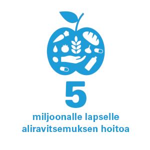 Terveys-ikoni ja teksti 5 miljoonalle lapsellemiljoonalle lapselle aliraliraavitsemuksen hoitvitsemuksen hoitoaoa