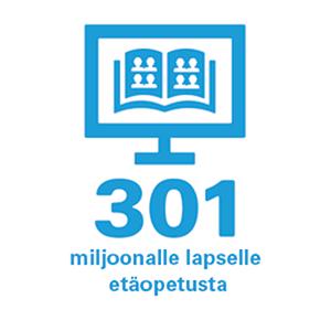 Ikoni: tietokoneen ruutu, jossa avoin oppikirja. Alla teksti 301 miljoonalle lapselle etäopetusta.