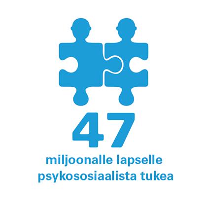 Ikoni ja teksti 47 miljoonalle lapselle psykososiaalista tukea