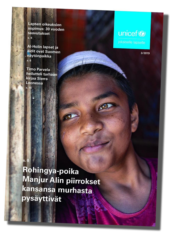 UNICEF-lehden kansi numero 3 2019, kansikuvassa rohingya-poika Manjur Ali.