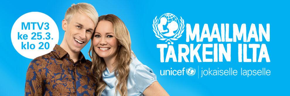UNICEF Maailman tärkein ilta -lähetys kutsuu suomalaiset jälleen mukaan auttamaan maailman lapsia.