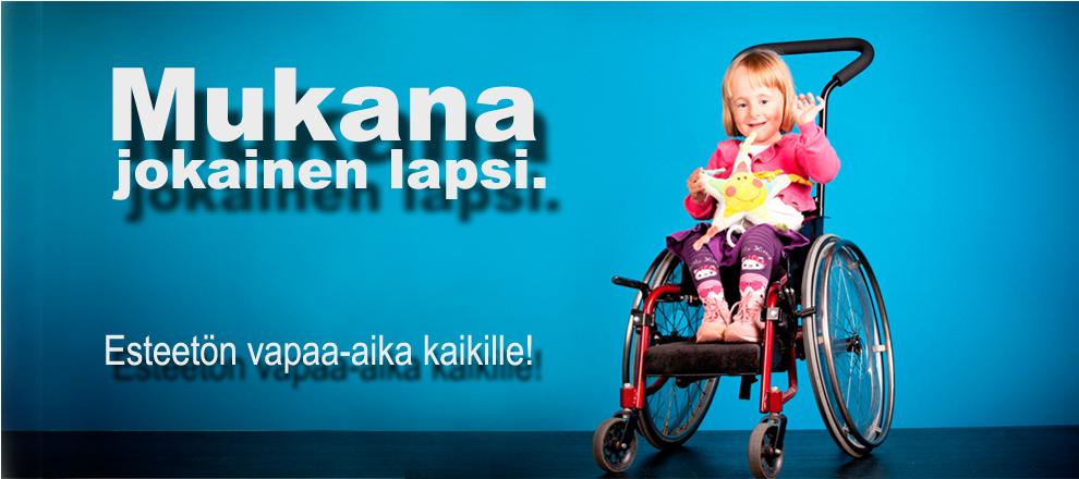 Mukana-kampanjan tunnuskuva: pieni tyttö pyörätuolissa