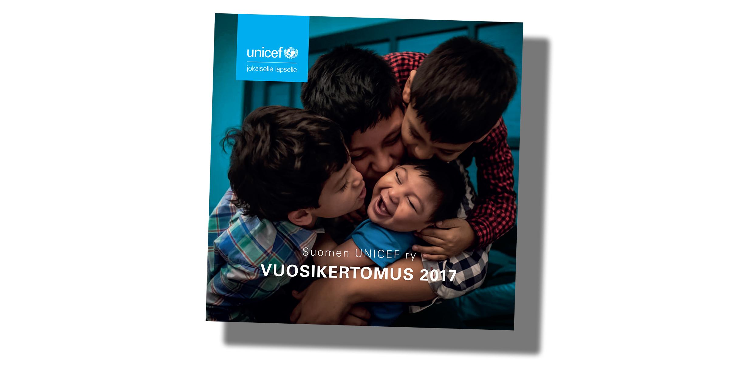 Suomen UNICEFin vuosikertomus 2017 kansikuva
